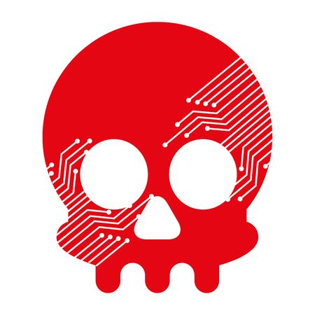 skull with electric circuit vector illustration design Standard-Bild - 100188406