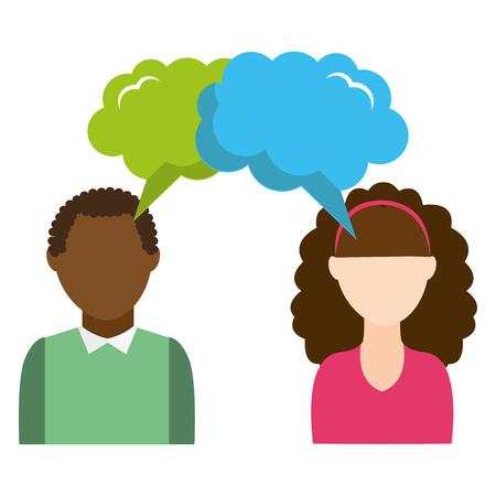 couple with speech bubbles dreams icons vector illustration design