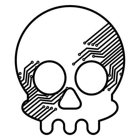 skull with electric circuit vector illustration design