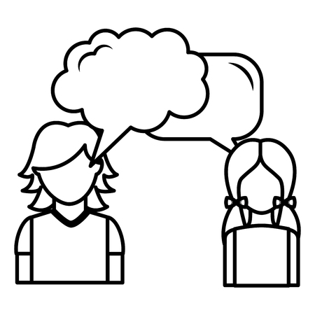 dialog between man and woman with text bubbles vector illustration outline