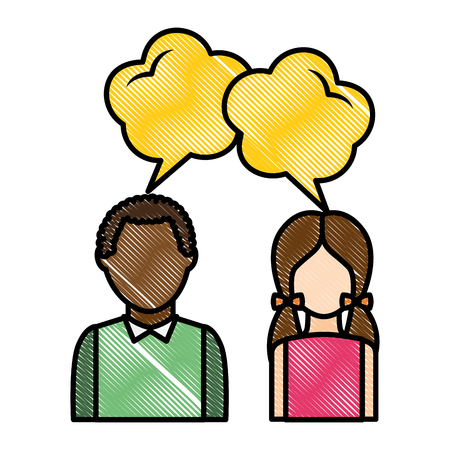 dialog between man and woman with text bubbles vector illustration drawing
