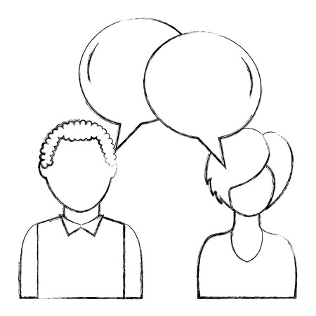 dialog between man and woman with text bubbles vector illustration sketch Imagens - 100191593