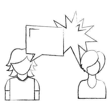 dialog between man and woman with text bubbles vector illustration sketch