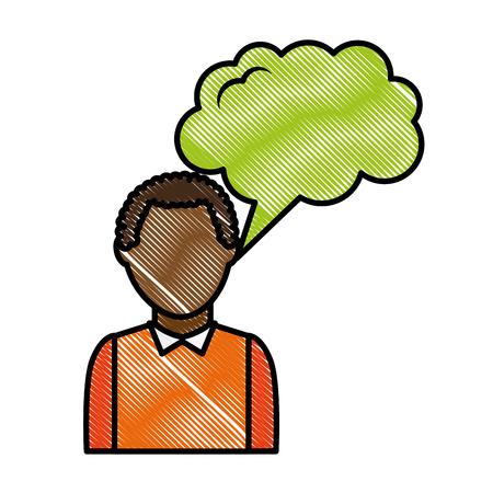 portrait man with speech bubble talk vector illustration drawing