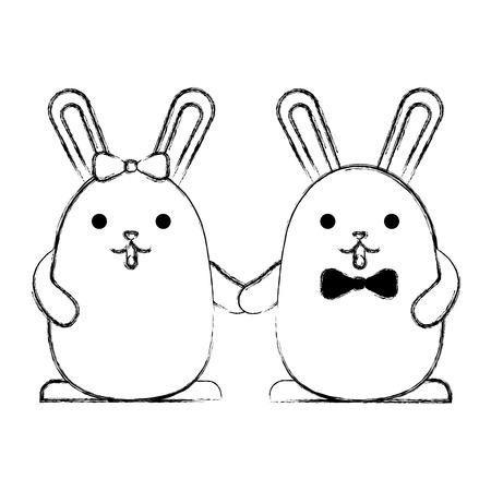 cute couple rabbits holding hands vector illustration sketch Фото со стока - 100192262
