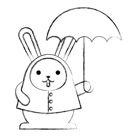 cute rabbit cartoon wearing coat with umbrella vector illustration sketch