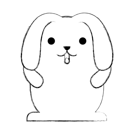 cute rabbit cartoon big ears vector illustration sketch