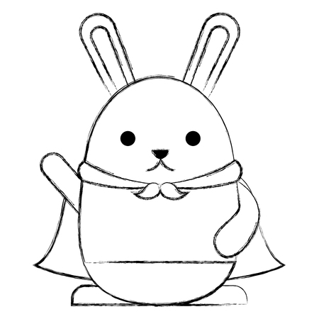 cute rabbit cartoon wearing cape vector illustration sketch Illustration