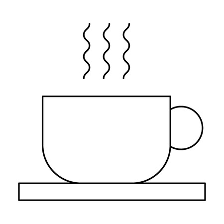 hot cofee cup in dish aroma fresh vector illustration outline