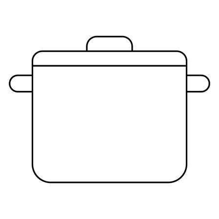 kitchen pot with cap utensil preparation vector illustration outline Stock Vector - 100194345