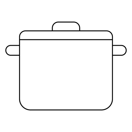 kitchen pot with cap utensil preparation vector illustration outline Illustration