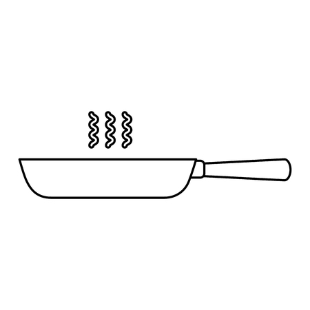 kitchen frying pan cooking utensil vector illustration outline
