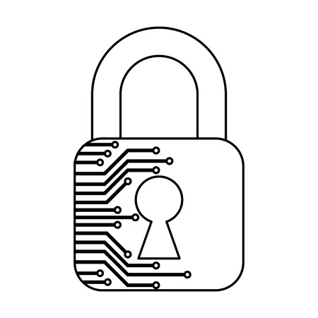 cyber security padlock safety data information technology vector illustration outline Archivio Fotografico - 100202455