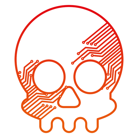 cyber security concept skull with circuits technology vector illustration degraded color  イラスト・ベクター素材