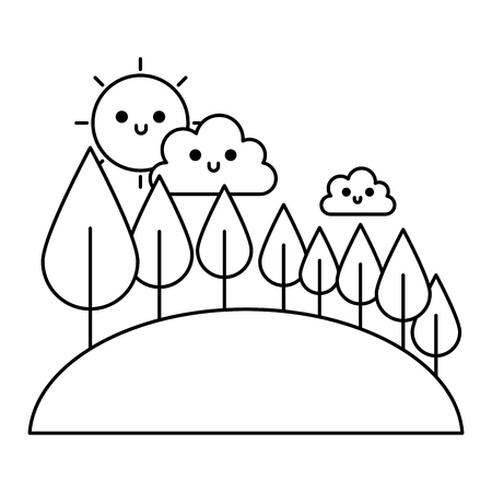 cute clouds sky and forest trees vector illustration outline Illustration