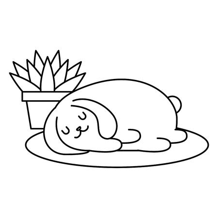 sweet bunny sleeping near plant in pot vector illustration outline