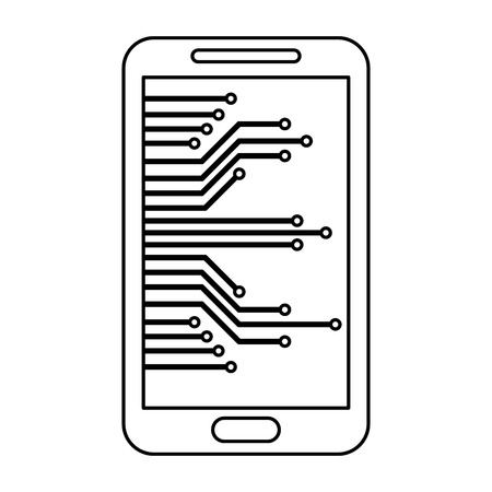 cyber security smartphone device technology digital vector illustration outline 向量圖像