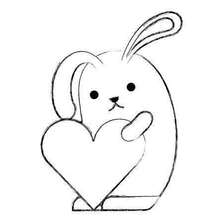cute rabbit cartoon holding heart romantic vector illustration sketch