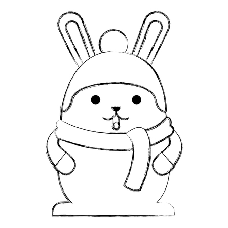 cute rabbit cartoon wearing warm hat and scarf gloves vector illustration sketch Иллюстрация