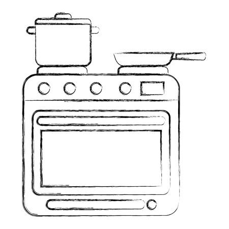 stove with oven appliance domestic pot and frying pan vector illustration sketch