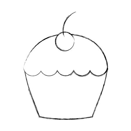 sweet cupcake dessert pastry image vector illustration sketch