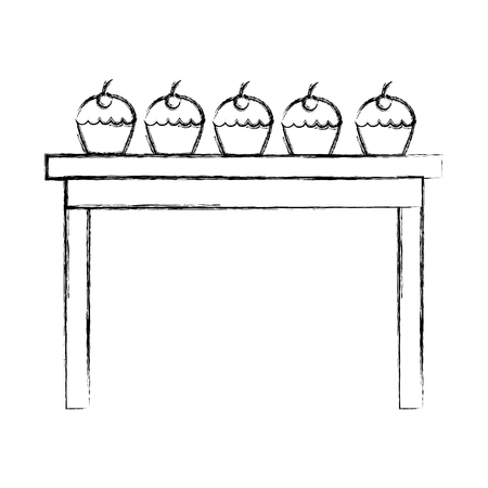 wooden table with cupcakes sweet snacks vector illustration sketch