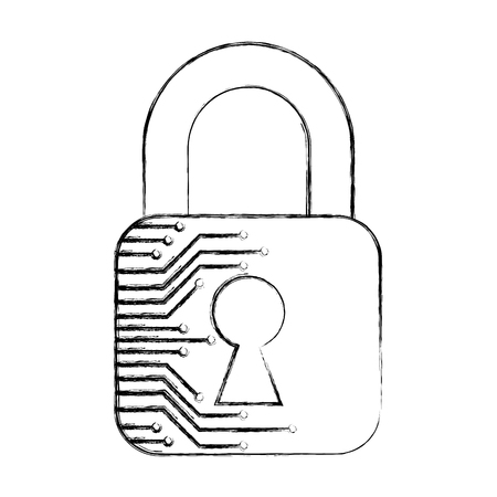 cyber security padlock safety data information technology vector illustration sketch