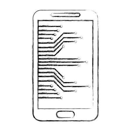 cyber security smartphone device technology digital vector illustration sketch 向量圖像