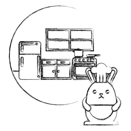 chef rabbit in the kitchen cooking vector illustration sketch Illusztráció