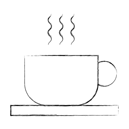 hot cofee cup in dish aroma fresh vector illustration sketch