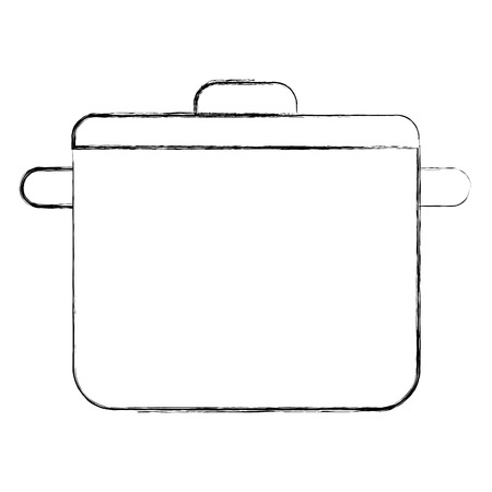 kitchen pot with cap utensil preparation vector illustration sketch