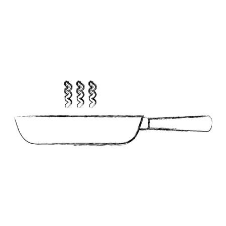 kitchen frying pan cooking utensil vector illustration sketch Illustration