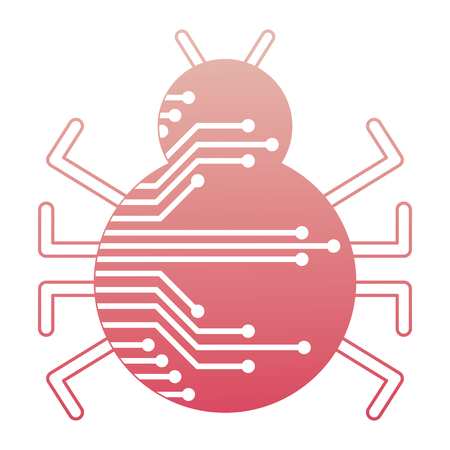 cyber security virus bug attack system vector illustration degraded color