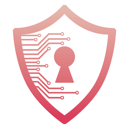 cyber security shield protection privacy access vector illustration degraded color