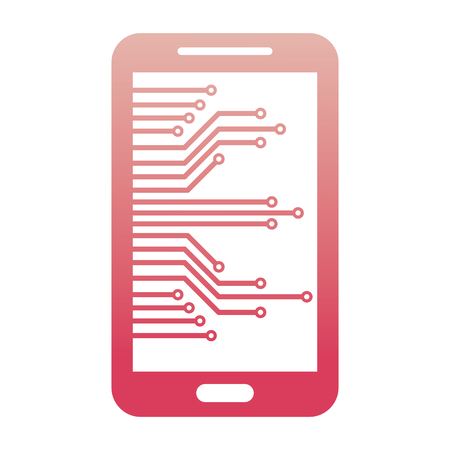 cyber security smartphone device technology digital vector illustration degraded color