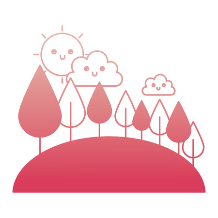cute clouds sky and forest trees vector illustration degraded color Illustration