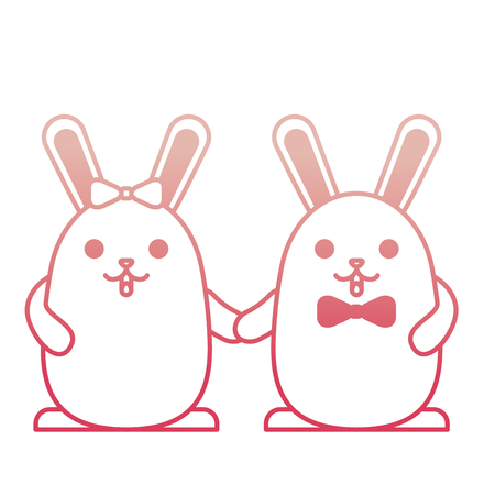 cute couple rabbits holding hands vector illustration degraded color