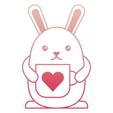 cute rabbit cartoon holding coffee cup vector illustration degraded color Çizim