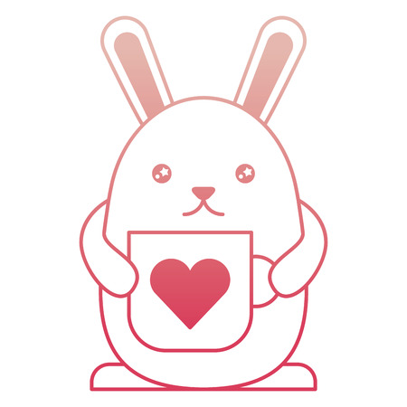 cute rabbit cartoon holding coffee cup vector illustration degraded color Illustration