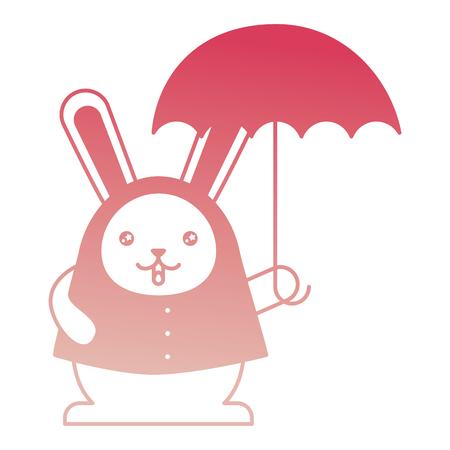 cute cartoon wearing coat with umbrella vector illustration degraded color