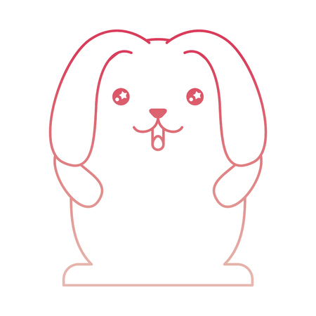 cute rabbit cartoon big ears vector illustration degraded color