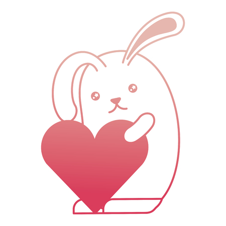 cute rabbit cartoon holding heart romantic vector illustration degraded color