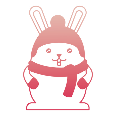cute rabbit cartoon wearing warm hat and scarf gloves vector illustration degraded color
