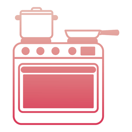 stove with oven appliance domestic pot and frying pan vector illustration degraded color