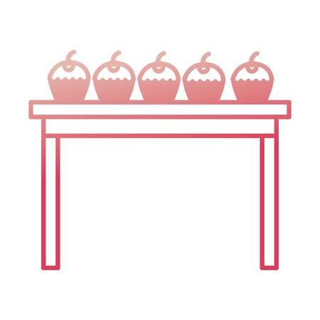 wooden table with cupcakes sweet snacks vector illustration degraded color Illustration