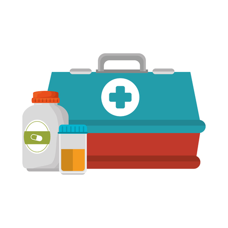 medical box with bottles drugs vector illustration design 스톡 콘텐츠 - 100215419