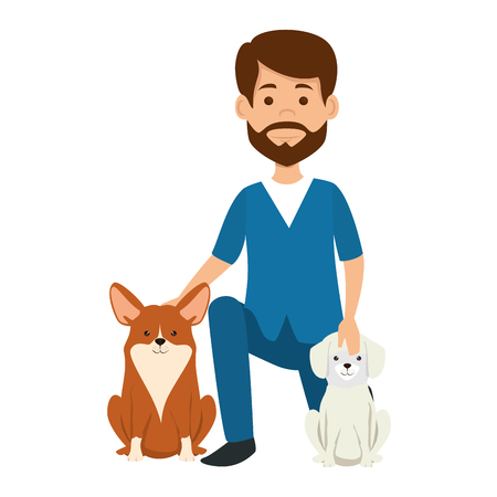 veterinary doctor with dogs avatar character vector illustration design Illustration