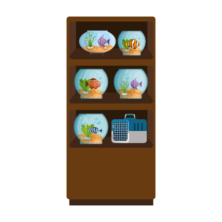 shelving of veterinary store with aquariums vector illustration design