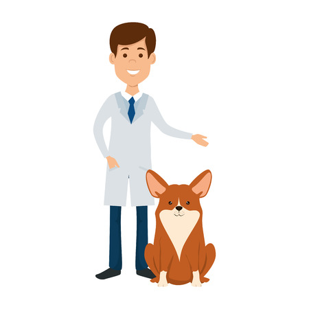 veterinary doctor with dog avatar character vector illustration design