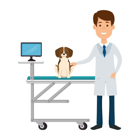 Tierarzt mit Hund in Trage Avatar Charakter Vektor-Illustration Vektorgrafik